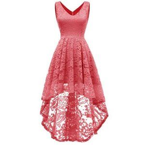 Sleeveless Hi-Lo Lace Formal Dress Cocktail Party